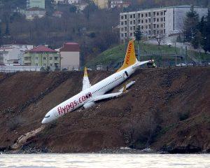 Video: Avión turco derrapa en pista y casi cae al Mar Negro