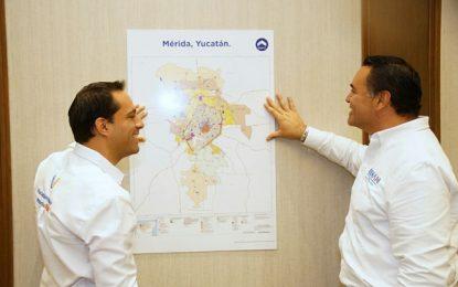 Vamos por el desafío de pavimentar todas las calles adentro del Periférico: Mauricio Vila y Renán Barrera
