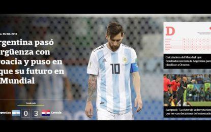 Prensa argentina llora la 'catástrofe' y ve a Albiceleste fuera del Mundial